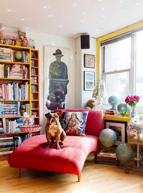 Cheap Chaise Lounge Living Room Eclectic with Bookshelves Bright .