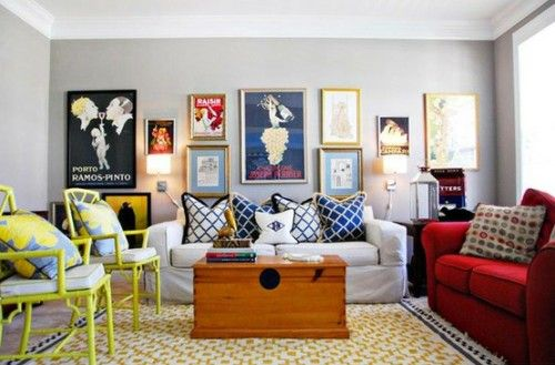 Living Room Design Ideas from Design Shuffle | Colorful living .
