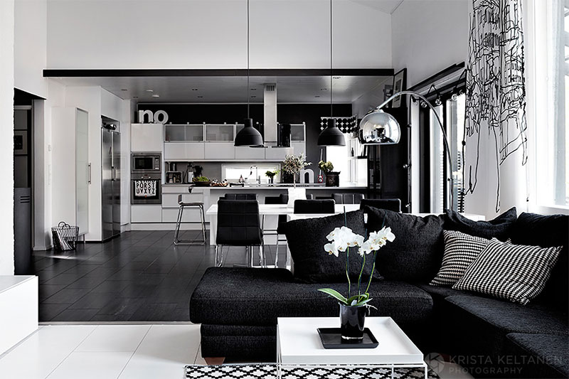 Elegant black and white interior design with comfortable atmosphe