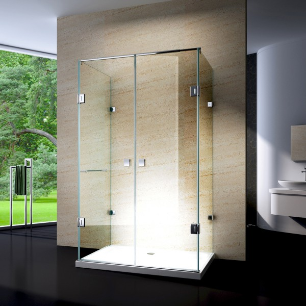 Shower cabin U-shape EX412 - genuine glass - 8mm safety NANO glass .