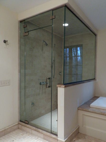 frameless glass bathtub doors with glass half wall | Shower Door .