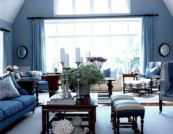 Classy and Chic Living Room in French Style   Blue furniture .