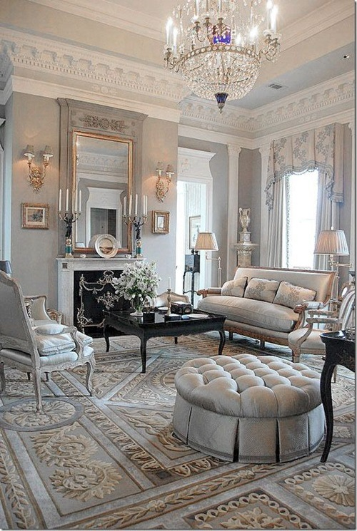Chic and Luxurious Large French Style Living Room Ide