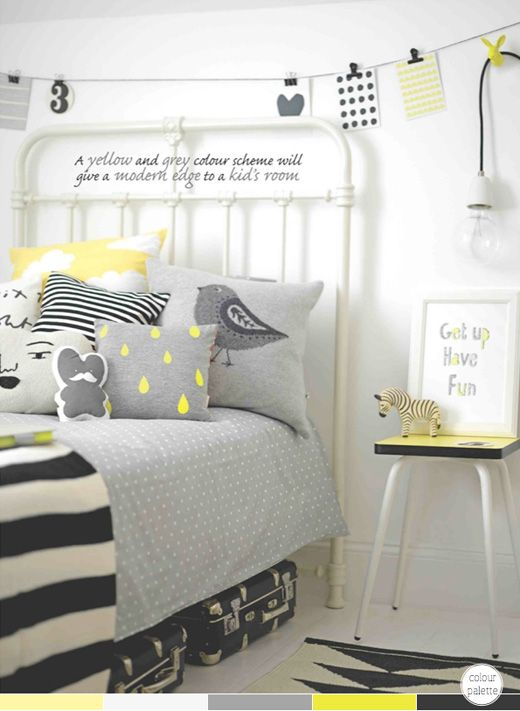 How To Decorate With Black and Yellow | Girl room, Girls bedroom .