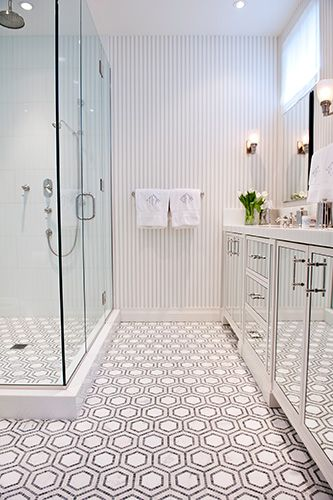 Geometric bathroom floor tile | Bathroom interior design .