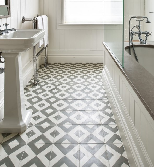Period Styled Bathroom with Geometric Tile Flooring - Eclectic .