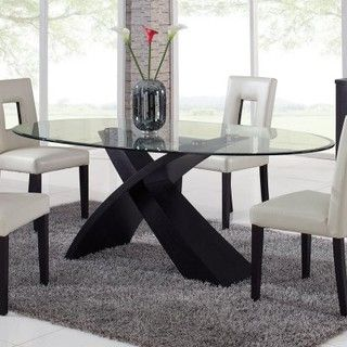 Global Furniture Exclaim Oval Glass Dining Table - modern - dining .