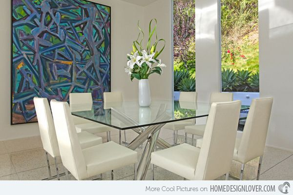 15 Shimmering Square Glass Dining Room Tables   Glass dining room .