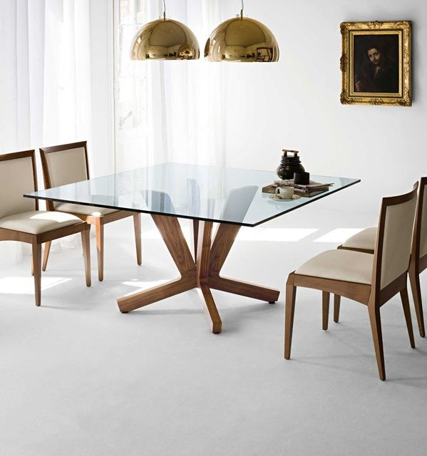15 Elegant Glass Dining Room Tables   Square dining room table .