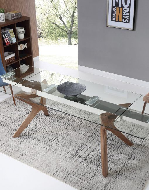 The Bridge: Clear Glass Rectangular Extendable Table in 2020 .