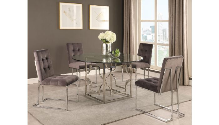 Orchid Modern Round Glass Dining Table S