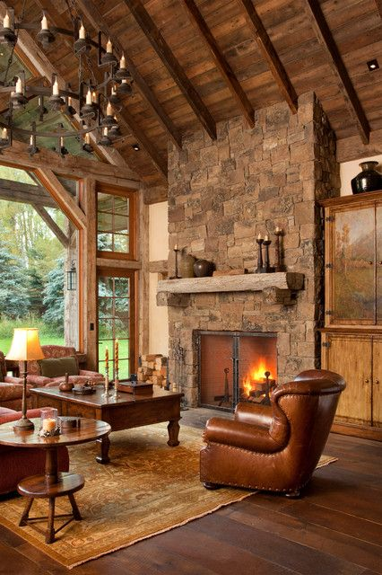 Beautiful rustic living room. My cabin someday. | Home fireplace .