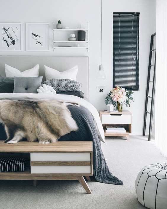 40 Gray Bedroom Ideas & Decor | Gray and White bedroom | Decohol