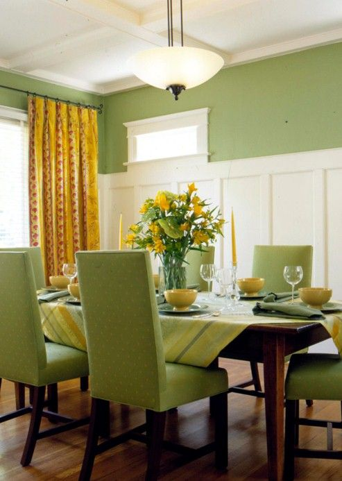 Green Design Of Dining Room : Green Paint and Texture Ideas for .