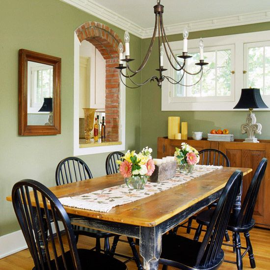 How to Decorate with Green | Green dining room, Sage green walls .
