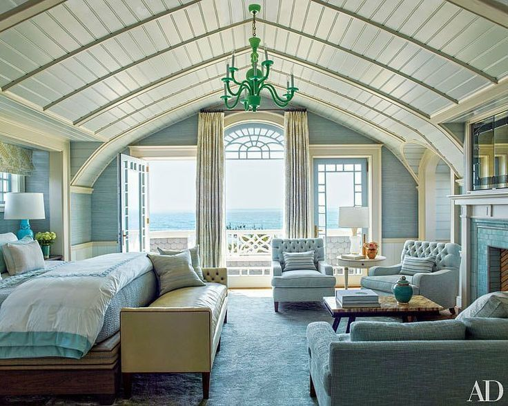 Cottage Master Bedroom with High ceiling, French doors, Crown .