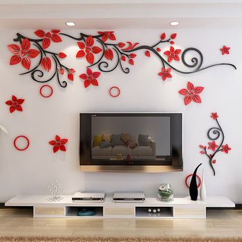 Creative Acrylic Plant Rattan Wall Painting Living Room Bedroom .