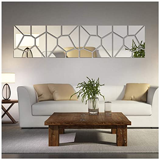 Amazon.com: Multi-Pieces=4 Squares Modern Design DIY Mirror Effect .