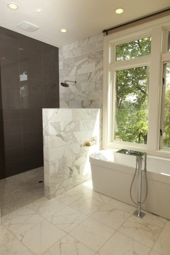 half wall for shower, no glass | Showers without doors .