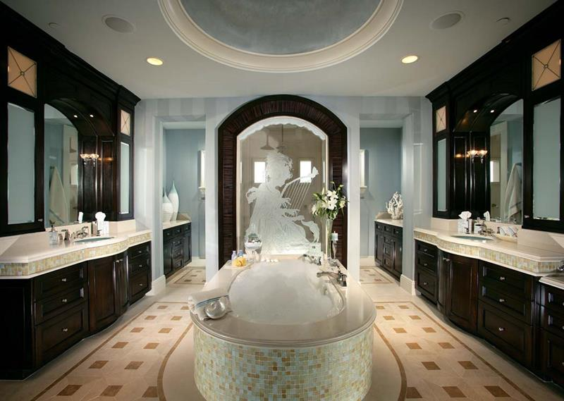 stylish white master bathroom featuring ann sacks lux tile .