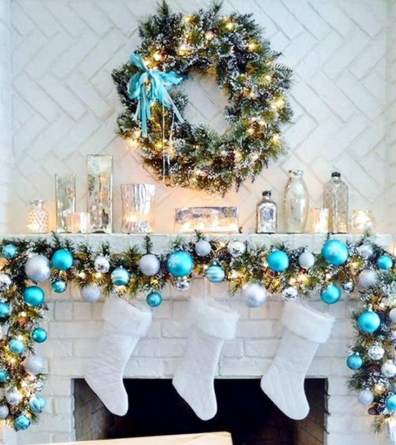 35 Frosty Blue And White Christmas Décor Ideas | Christmas mantle .