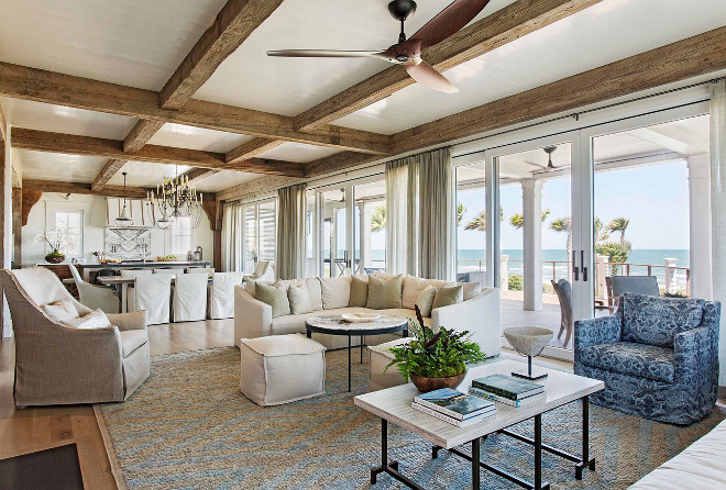 Beach House with Rustic Coastal Interiors - Home Bunch Interior .