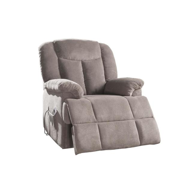 Acme Furniture Ixia Light Brown Fabric Recliner with Power Lift .