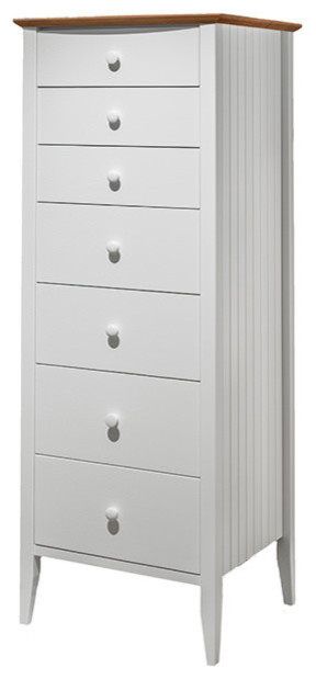 Coastal 7-Drawer Lingerie Chest, Coastal White - Beach Style .