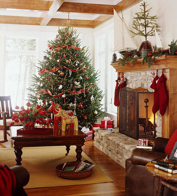 30 Cosy Christmas Living Room Decorating Ideas - Graveti