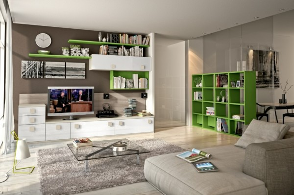 Modern Living Room Wall Units With Storage Inspirati