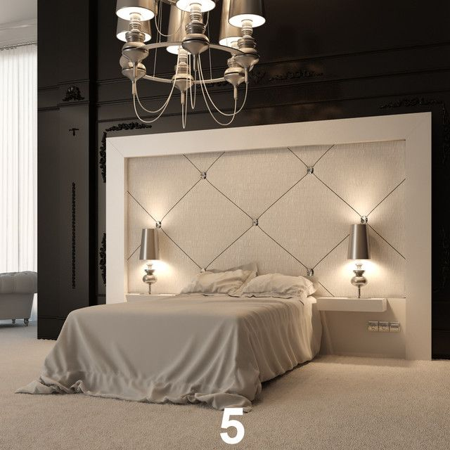 I like that the side tables are integrated into the headboard .