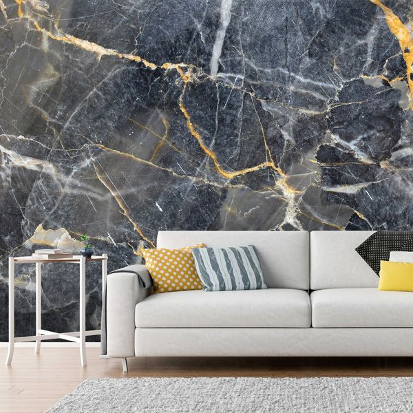 Grey with Gold Marble | Gold marble wallpaper, Feature wall living .