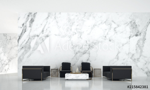 Modern luxury living room interior design and white marble texture .