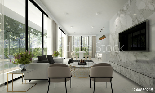 Modern luxury living room interior design space and marble wall .