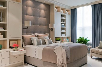 Modern Brown Bed Furniture and Corner Cabinets in Small Bedroom .