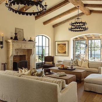 Mediterranean Living Room Cathedral Ceiling Design Ide