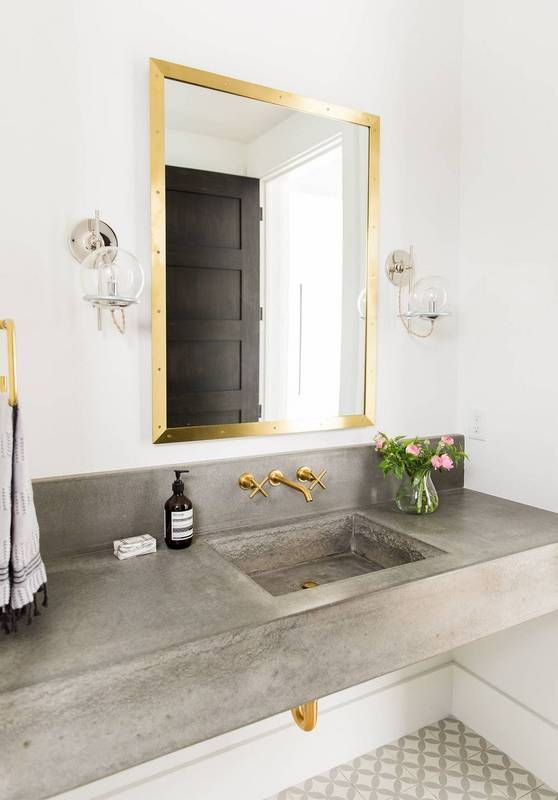 14 Ways To Use Concrete Countertops In Bathrooms | Unique bathroom .