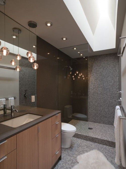 nice layout - shower stall, recessed lighting, light fixture .