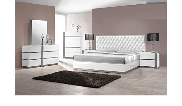 Amazon.com: Modern Seville 4 Piece Bedroom Set Queen Size Bed .