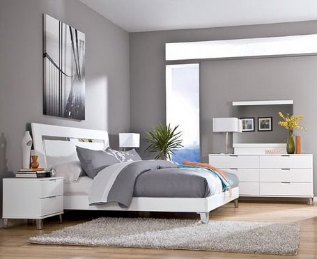 Grey Wall Color Scheme and White Bedding Sets in Modern Bedroom .