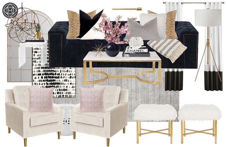 Contemporary, Glam Living Room Design by Havenly Interior Designer .