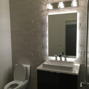 75 Beautiful Modern Powder Room With Dark Wood Cabinets Pictures .