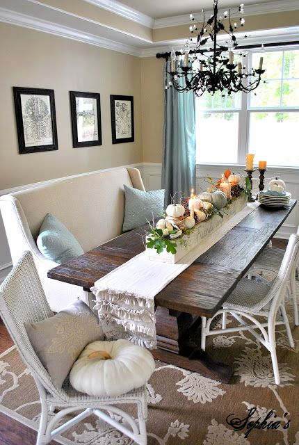 Fall Table Centerpiece | Dining room cozy, Fall kitchen decor, Ho