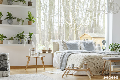 Natural bedroom interior with plants - Buy this stock photo and .
