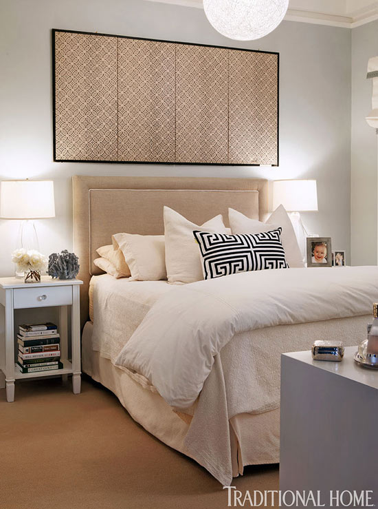Neutral Bedroom with Japanese Screen - Interiors By Col