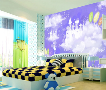 the sky angel with castle non-toxic wallpaper for children room .