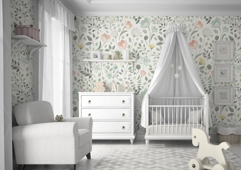 Posie Watercolor Floral Mural || Traditional or Removable .