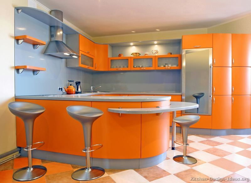 A Modern Orange Kitchen with Curved Cabinets | Kitchen cabinet .