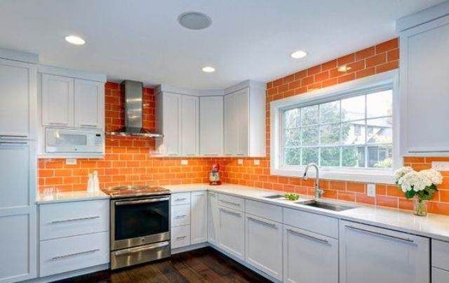 Orange Tile Kitchen Waall White Kitchen Walal Cabinet Wgite .