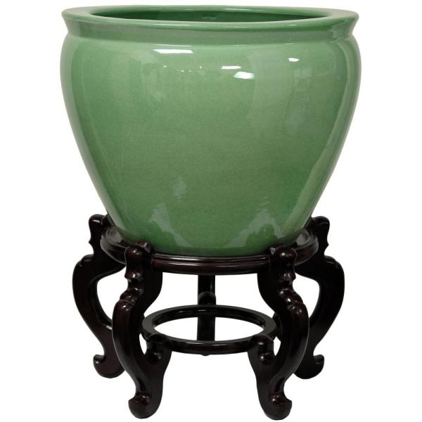 Oriental Furniture Oriental Furniture 14 in. Celadon Porcelain .